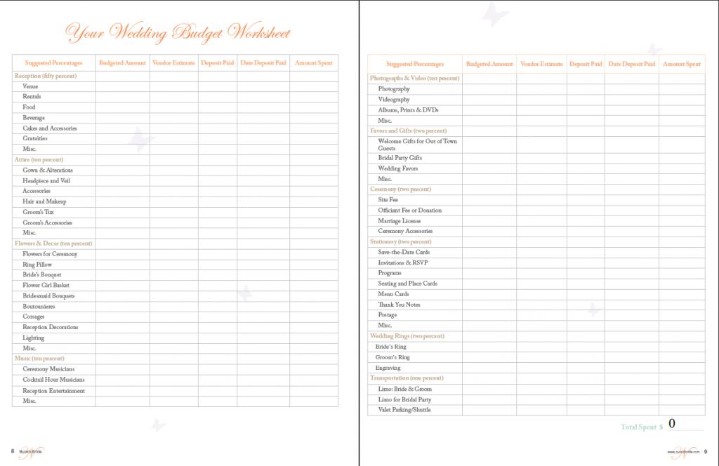 wedding vendor worksheet wedding budget worksheet printable i do