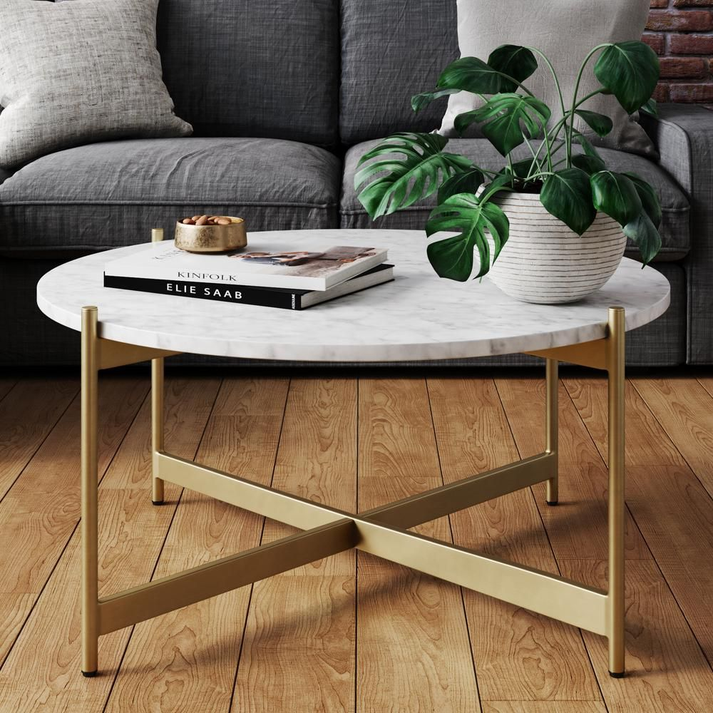 Nathan James Piper 36 In White Gold Medium Round Faux Marble Coffee Table 31502 The Home Depot Coffee Table Living Room Modern Faux Marble Coffee Table Coffee Table Design [ jpg ]