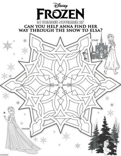 Disney Frozen Printable Anna And Elsa Maze