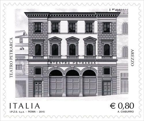 """Francobollo ordinario appartenente alla serie tematica """"il Patrimonio artistico e culturale italiano"""" dedicato al Teatro Petrarca in Arezzo"""