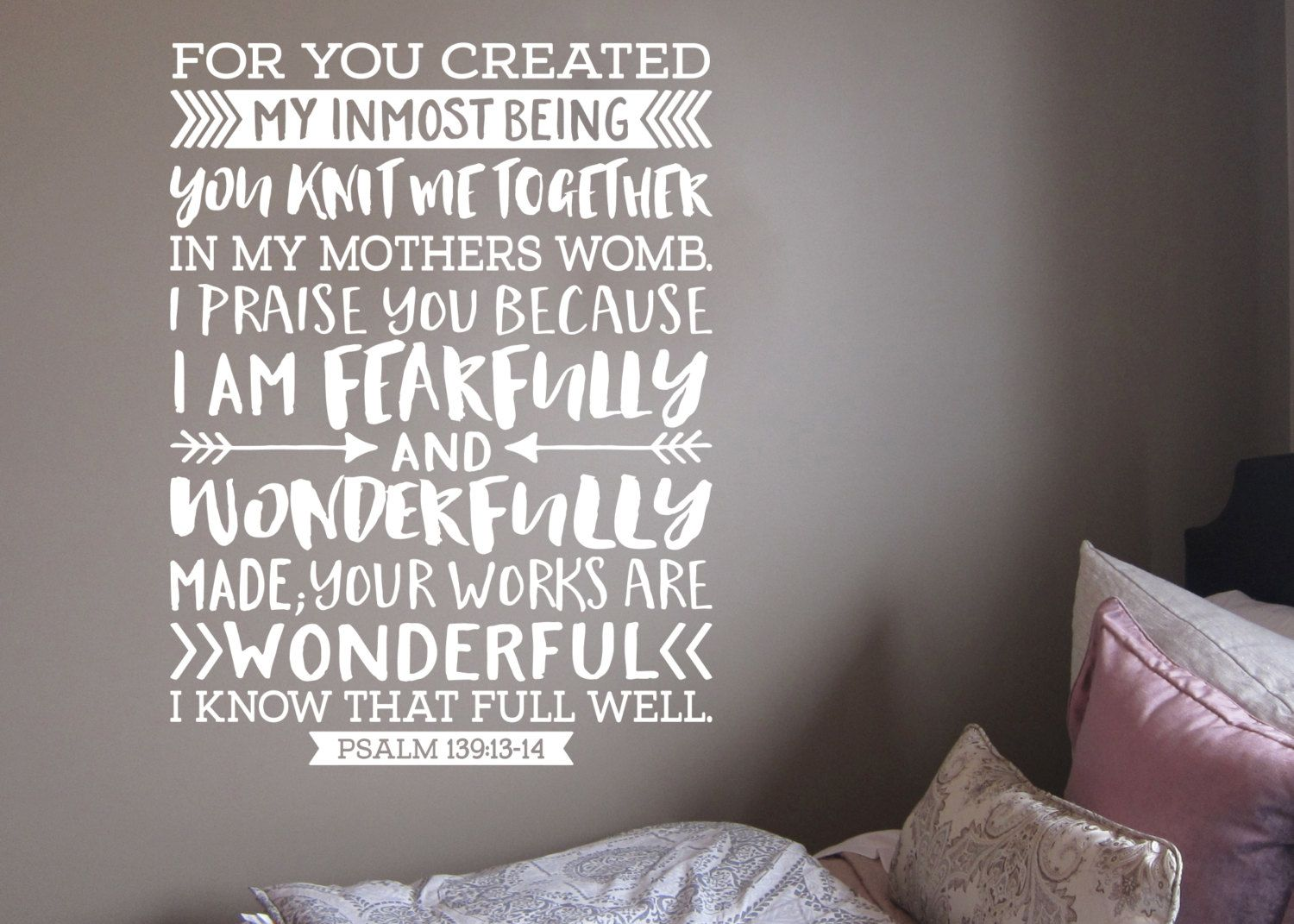 Psalms wall decals christian wall decals ine walls - Psalm 139 13 14 Fearfully And Wonderfully Made Teen Girl Boy Wall Vinyl Bible Verse Scripture Wall Decal Youth Room Ps139v14 0021