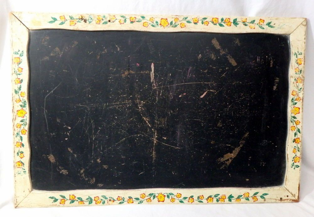 VTG 19x29 Chalkboard Blackboard Wood Frame Chippy Paint Decals Farmhouse Kitchen #Unknown