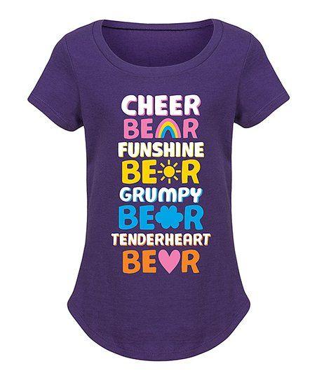 instant message purple cheer bear funshine bear curved hem tee girls