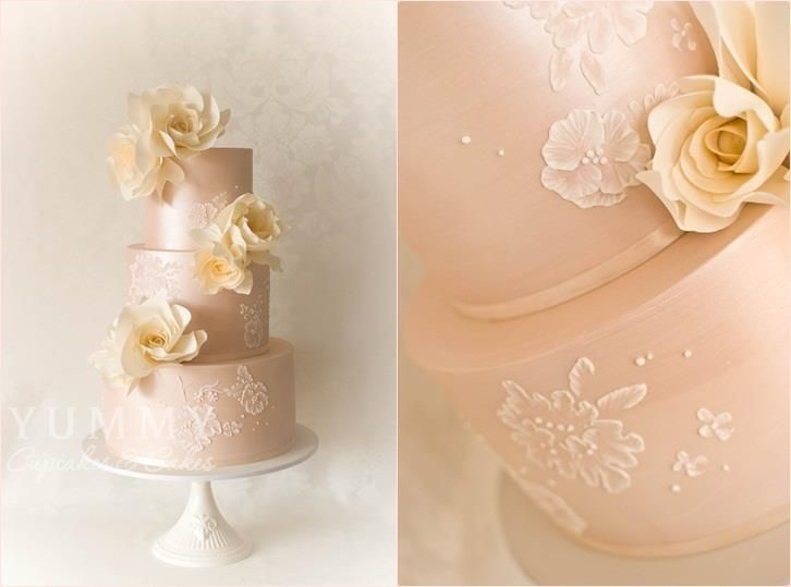Peach Wedding Cake By Yummy Cupcakes And Cakes Sydney