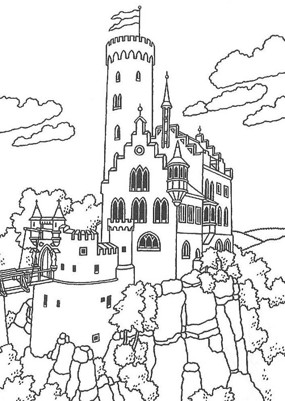 Burg Lichtenstein Baden Wurttemberg Germany Castle Coloring Page Coloring Books Coloring Pages