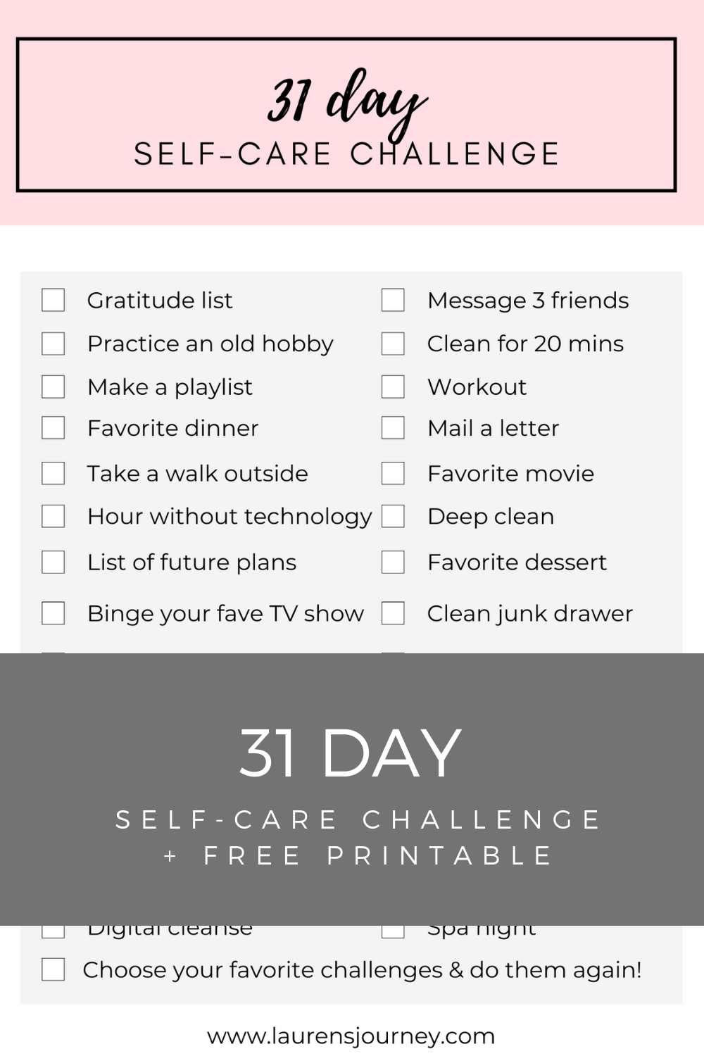 31 Day Self Care Challenge Free Printable Checklist May 2020 Lauren S Journey Self Care Self Care Activities Self Improvement Tips