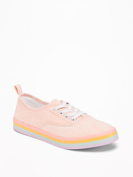 5be27634356c Old Navy Pink-Sueded Elastic-Lace Rainbow Sneakers for Girls ...