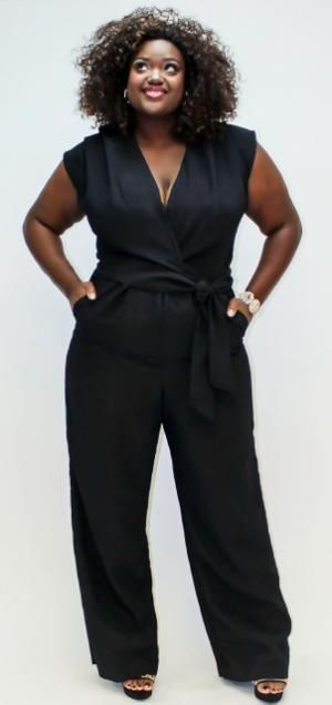 "how sexy is this ""bianca"" v-neck wide leg jumpsuit by plus size"