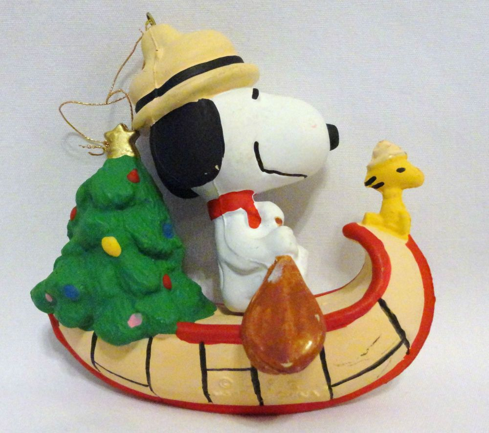 Snoopy Christmas Tree Topper: Rare Vintage UFS Peanuts Scout Snoopy & Woodstock Canoe