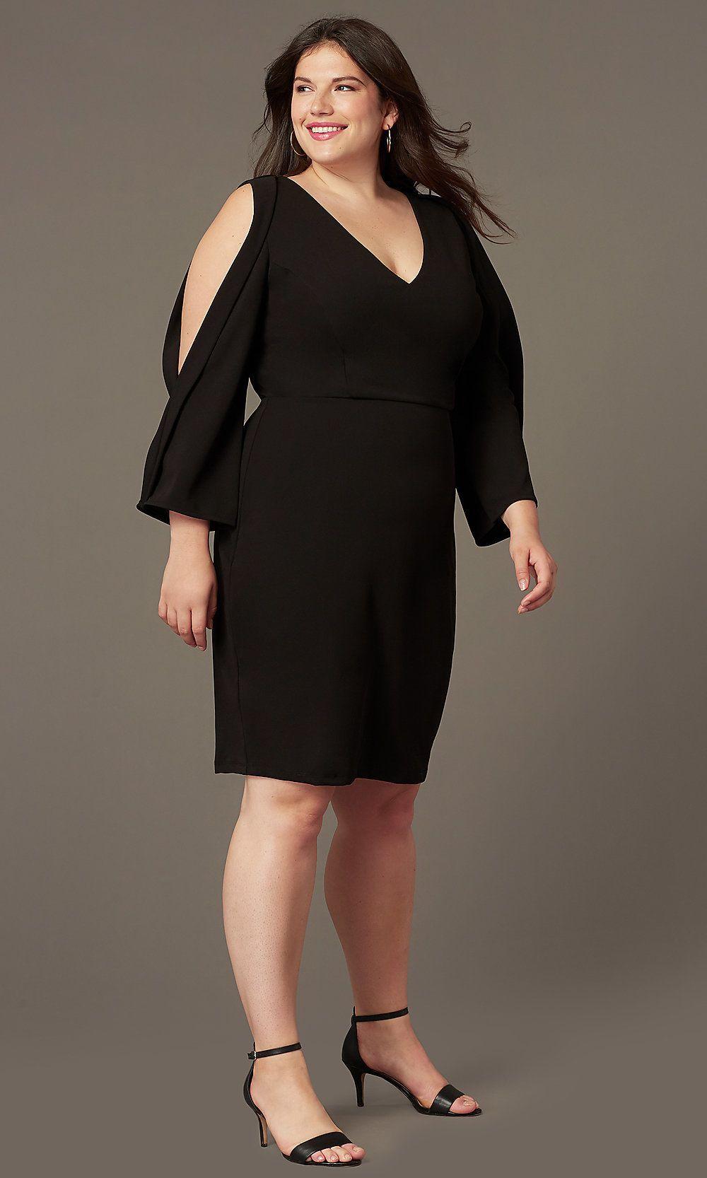 Plus Size Short Black Formal Dress With Sleeves Dresses With Sleeves Knee Length Cocktail Dress Black Dress Formal [ 1666 x 1000 Pixel ]