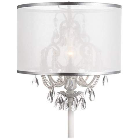 Ciara Draped Antique White Crystal Chandelier Floor Lamp | Floor ...