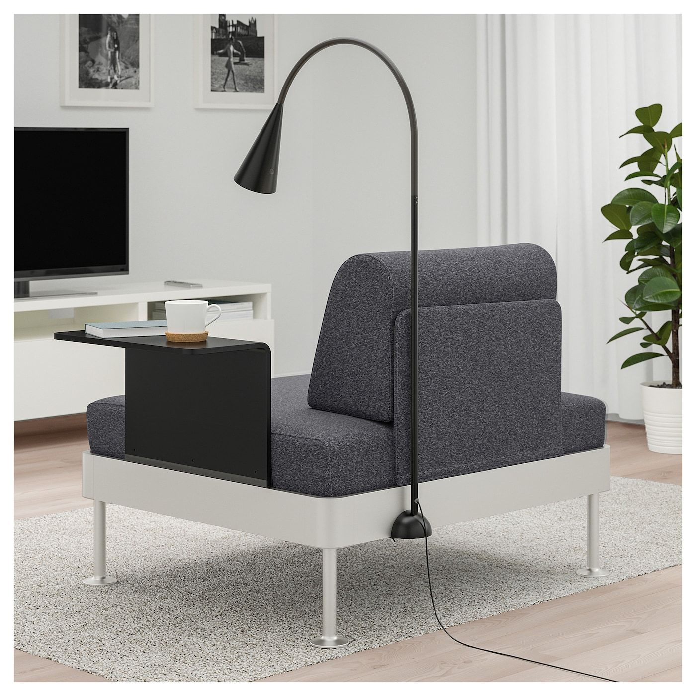 Delaktig Armchair With Side Table And Lamp Gunnared Medium Gray Ikea In 2020 Painted Side Tables Ikea Armchair