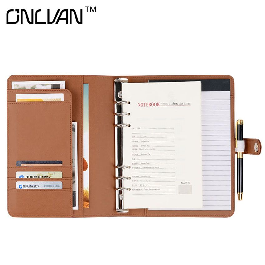 A5 PU Leather Writing Pad Notebook Brown Padfolio Office Supply  Multifunction Portfolio Business Accessories Accept Customized