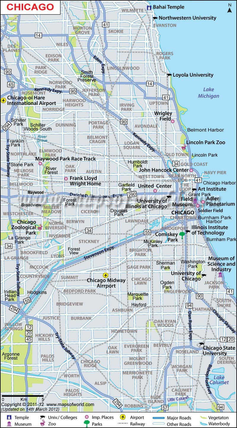 Chicago #Map displays the major roads, railways, airports ... on