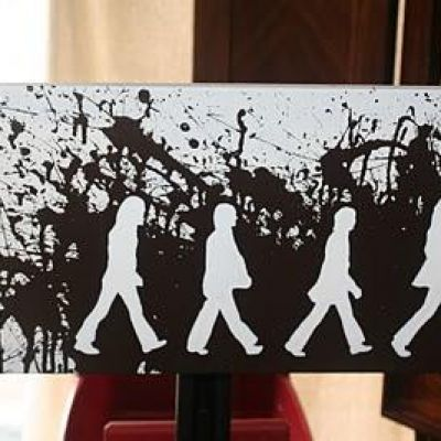 The Beatles ~ DIY Abbey Road Art. I know someone that needs this for their next birthday gift.