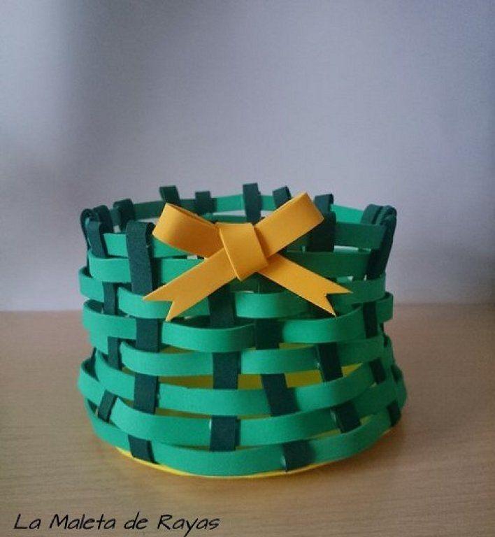 cmo convertir tiras de goma eva en una bonita cesta