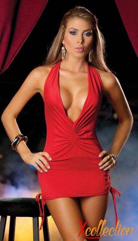 6ebdc736d8d Büzgülü kırmızı sexi elbise