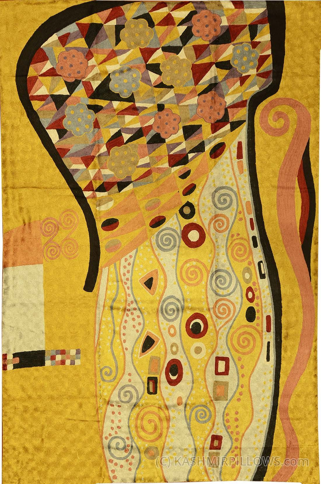 Abstract wall hangings accent carpets hand embroidered accent modern - Klimt X Art Nouveau Gold Silk Abstract Rug Tapestry Hand Embroidered Kashmir Fine Arts Craftskashmir Fine Arts Crafts