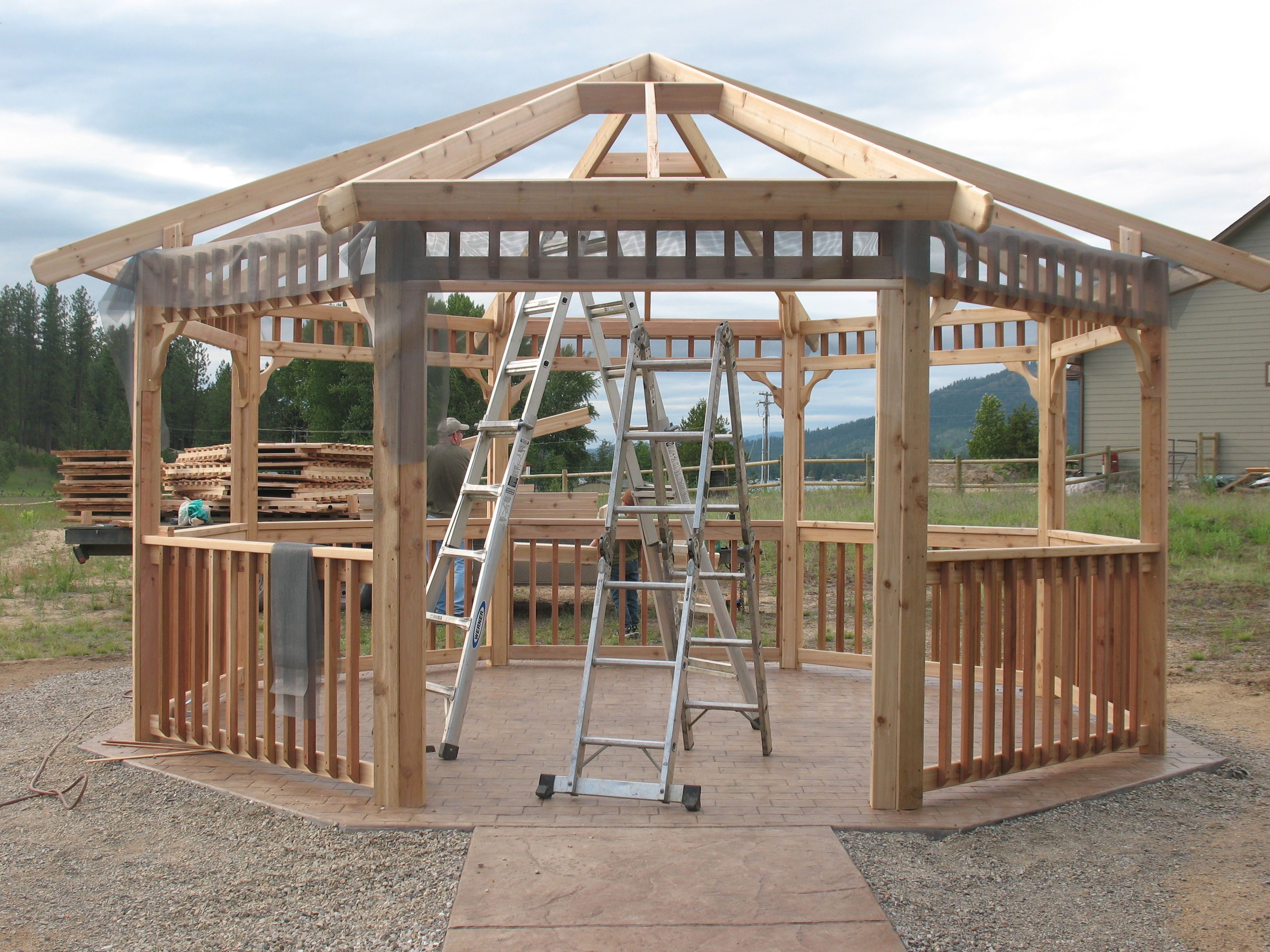 Gazebo kits pergolas gazebos and decks pinterest for Gazebo house plans