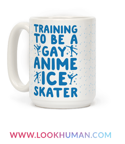 """Some weight train at the gym but me, I'm training to be a gay anime ice skater! Show off your love for your favorite queer, ice skating anime, """"Yuri On Ice"""" with this cute and funny, gay, anime, coffee mug perfect for any queer anime lover."""