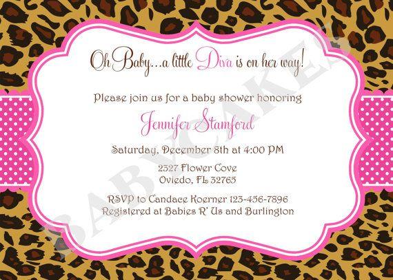 Leopard Baby Shower Invitations Diva Baby Shower Invitation