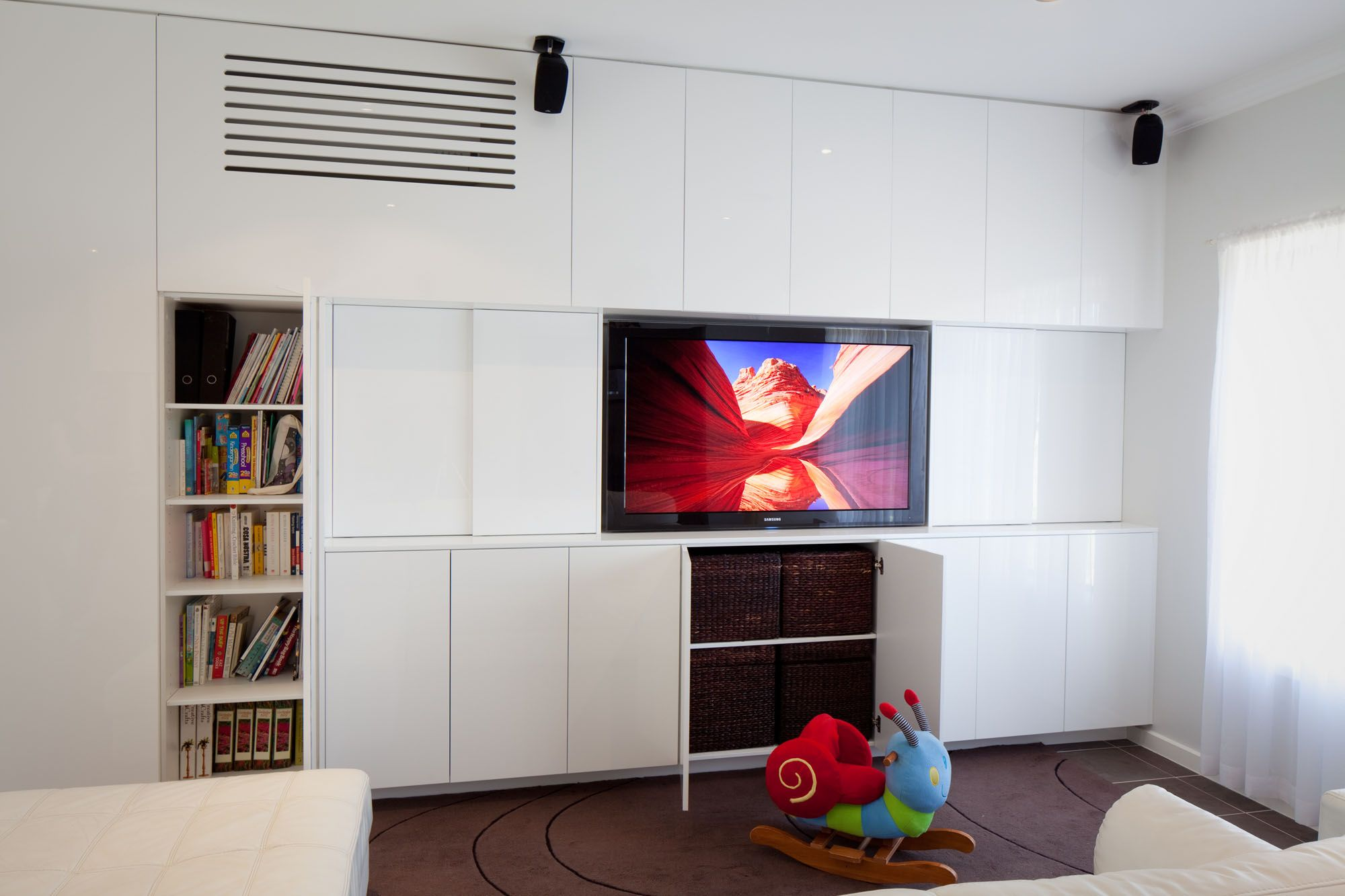 Kids Bedroom Library tv unit, library, kids storage unit with hidden air-con unit www