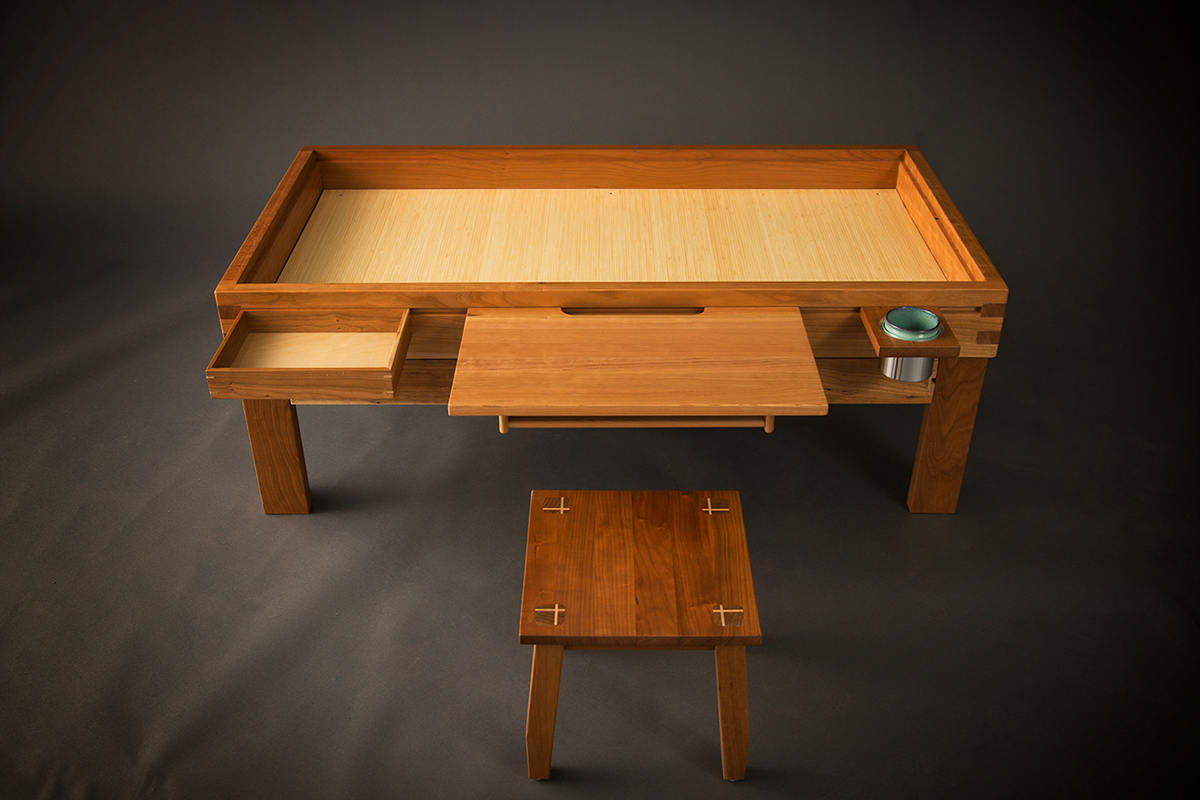 The Top Of Table Fits Into Ridge If One Need A Flush Featuring Bin Desk And Cup Holder Rail Accessories As Well Coffee
