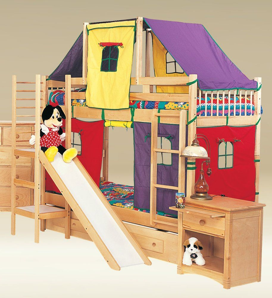 Best Children Bunk Bed With Slide Birch Natural Play Twin 400 x 300