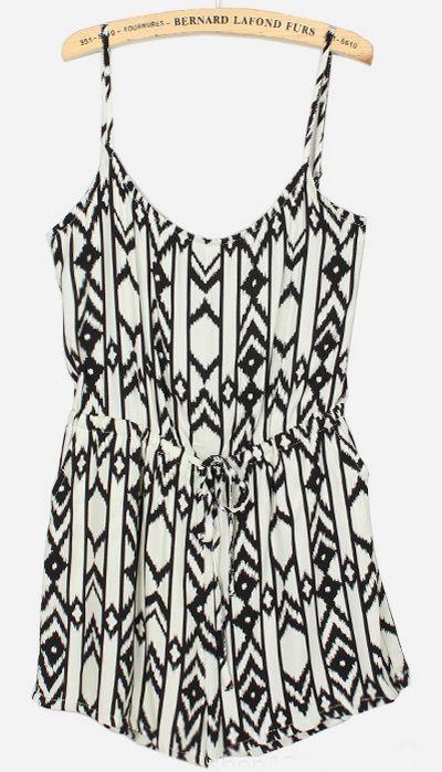 White Spaghetti Strap Geometric Print Jumpsuit