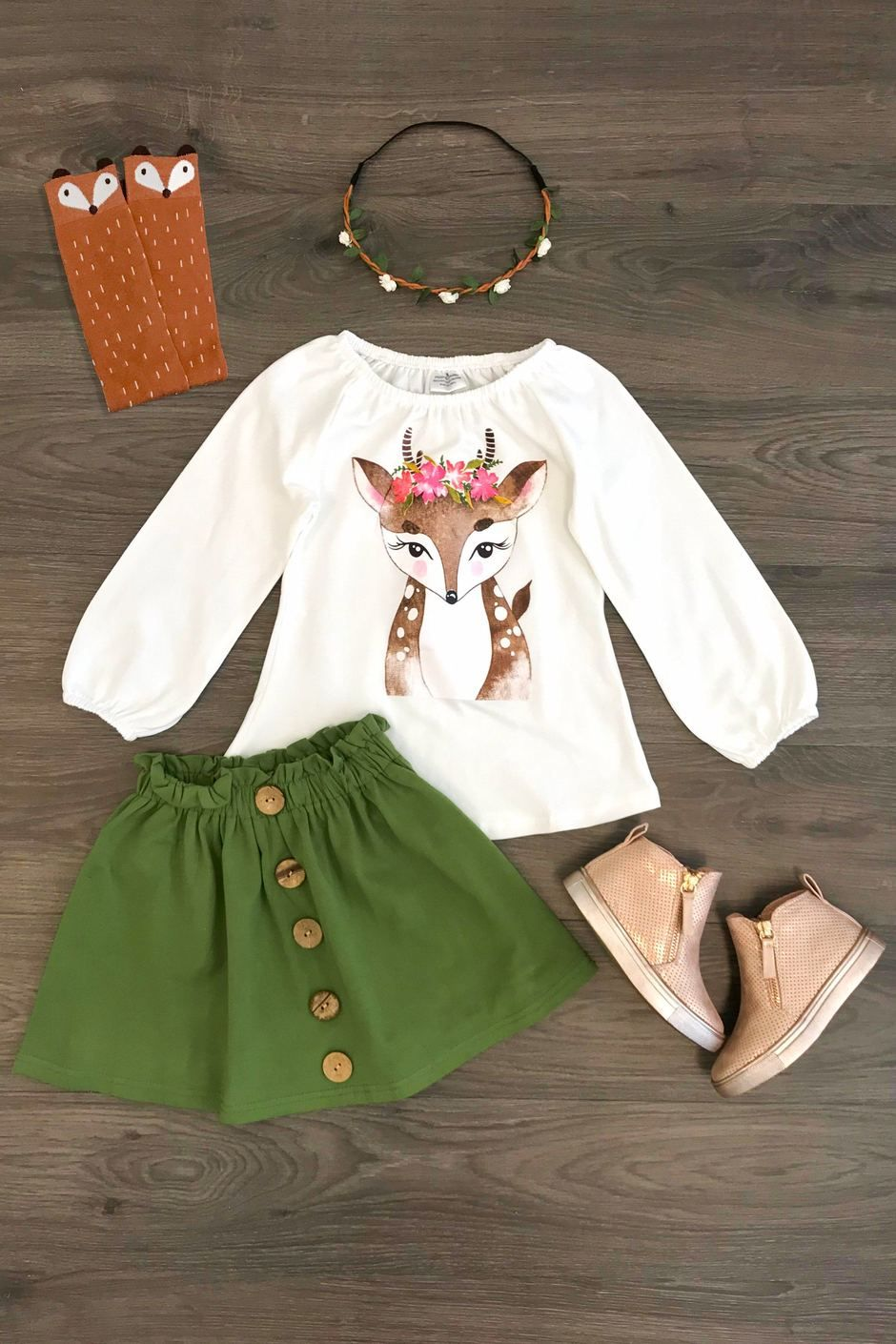 753fd3c6a Olive Green Deer Skirt Set | Torieona | Kids outfits girls, Baby ...