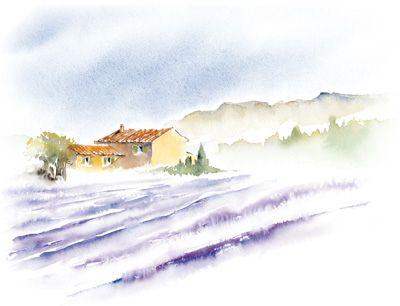 Mas provençal Aquarelle , Peindre une aquarelle Aquarelle - apprendre a peindre un mur