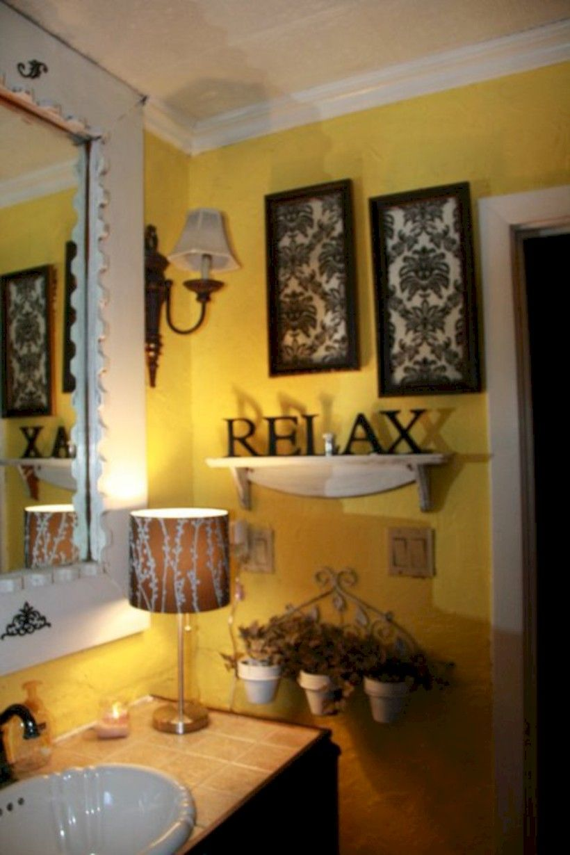 50 Beautiful Yellow White Bathroom Ideas Home Decor Ideas Yellow Bathroom Decor Yellow Bathrooms Yellow Bathroom Walls