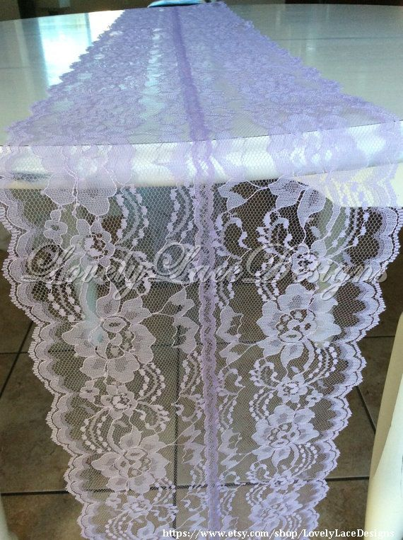 5ft Lavender Lace Table Runner, Wedding Table Runner, 60in long x 8in Wide, Lavender/Purple Wedding Decor, Lace Overlay by LovelyLaceDesigns on Etsy