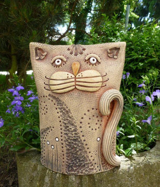 Töpfern Ideen für den Garten keramik-figuren-tiere-katze-basteln