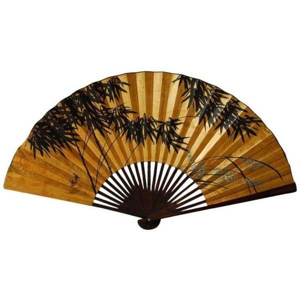 Gilt Painted Japanese Folding Wall Fan ($250) ❤ liked on Polyvore ...