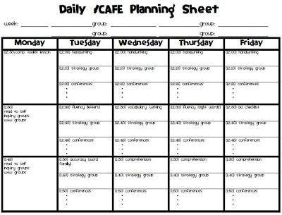 Free Planning sheet for Daily 5\/CAFE MrsPlemonsu0027 Kindergarten - day planner sheet