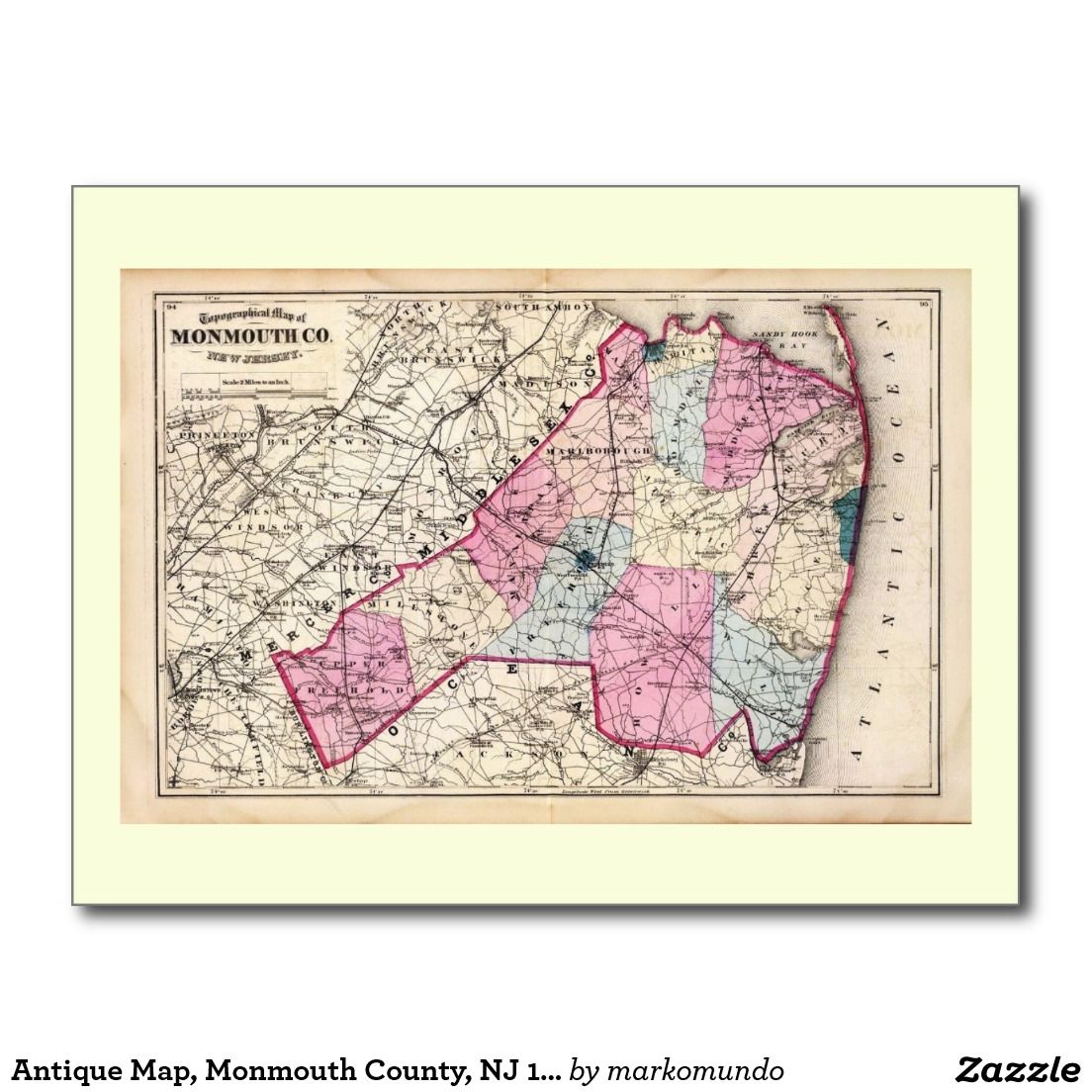 Antique Map Monmouth County NJ 1872 Vintage Postcard New