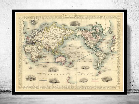 Old world map atlas vintage world map 1851 by oldcityprints old old world map atlas vintage world map 1851 by oldcityprints gumiabroncs Images