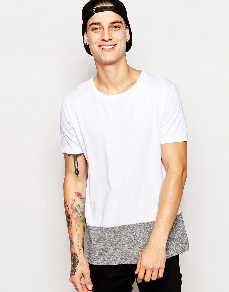 T-Shirt von ASOS weiches Jersey Rundhalsausschnitt Einsatz am Saum reguläre Passform - entspricht den Größenangaben Maschinenwäsche 100% Baumwolle Unser Model trägt Größe M und ist 185,5 cm/6 Fuß, 1 Zoll groß