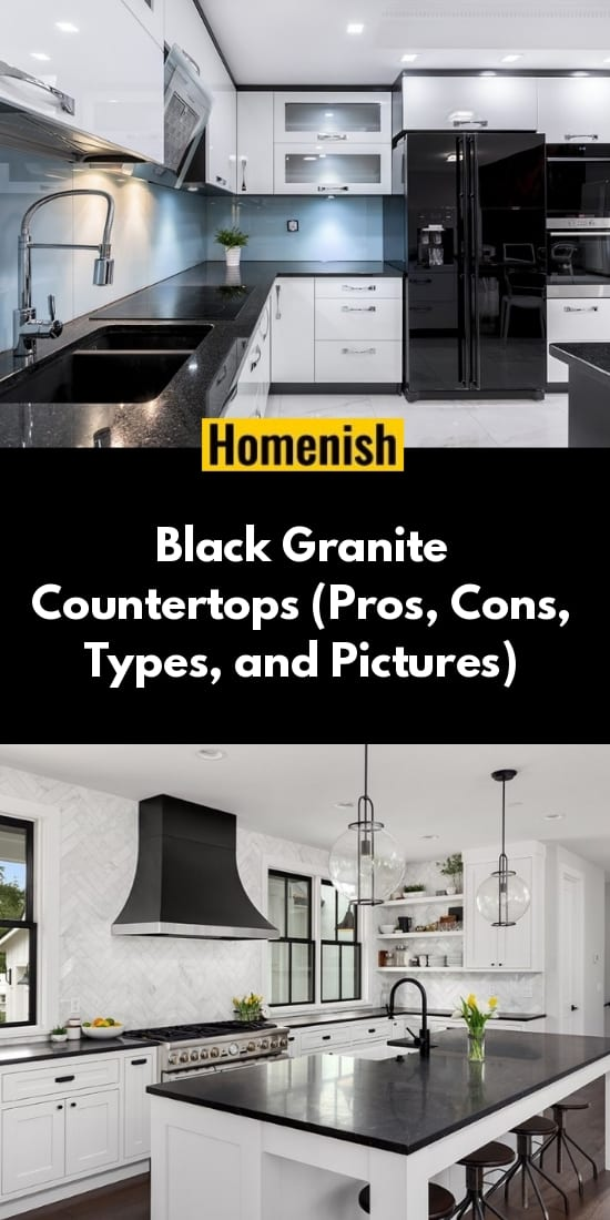 Black Granite Countertops Pros Cons Types And Pictures In 2020 Black Granite Countertops Granite Countertops Kitchen Dark Kitchen Countertops