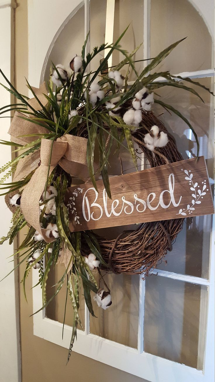 Farmhouse Wreath Cotton Rustic Decor Welcome Blessed Front Door Gift For Mom