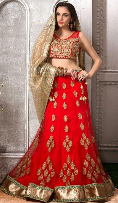 Red Net Designer Wedding Lehenga Choli 43083