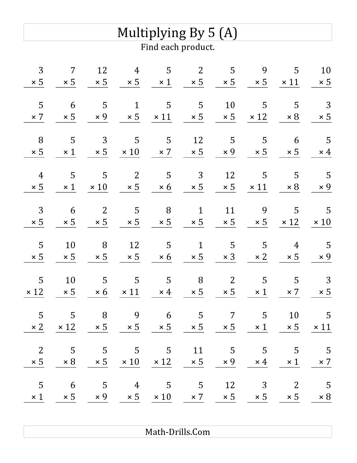 Worksheets Timed Multiplication Worksheets the multiplying 1 to 12 by 5 a math worksheet from multiplication page at drills com