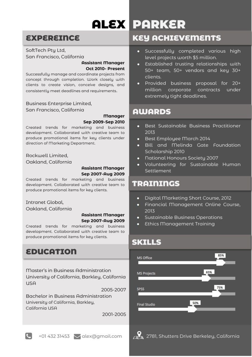 Professional Grey and Black Resume Resume, Trust in