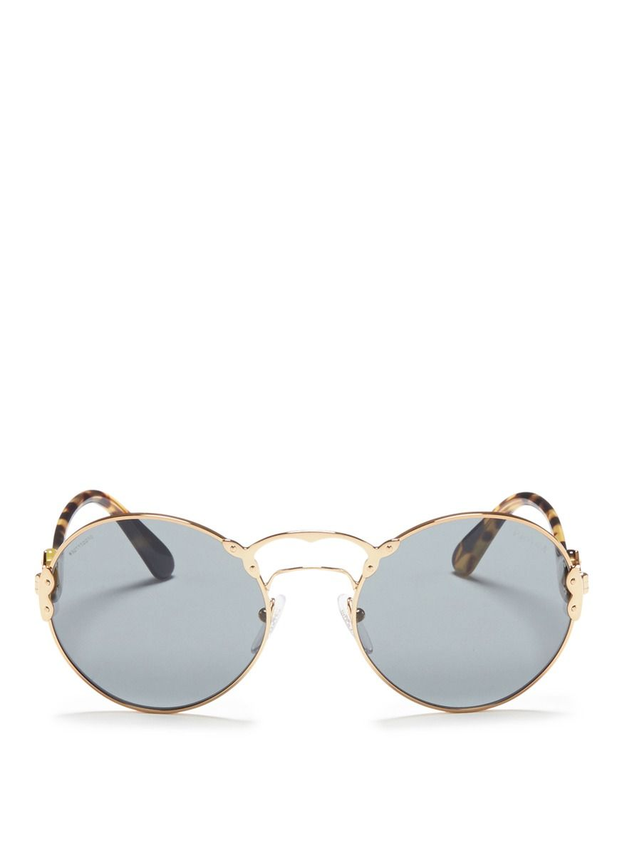 0001223ade09 Prada -  prada Wanderer  Tortoiseshell Temple Metal Rivet Scroll Sunglasses