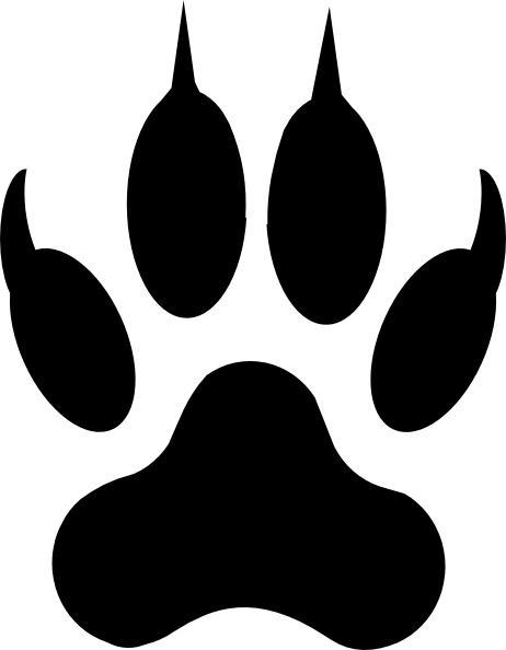 Printable wolf paw print print the coloring animals for Tiger paw template
