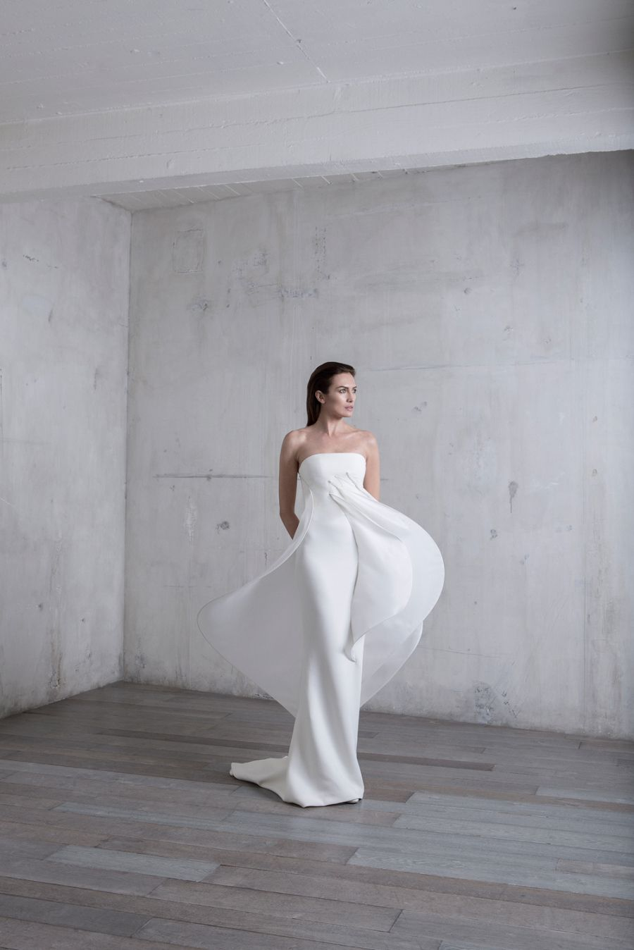 Thrift store wedding dress  Stephane RollandLong ellipse strapless dress in white wool crepe and