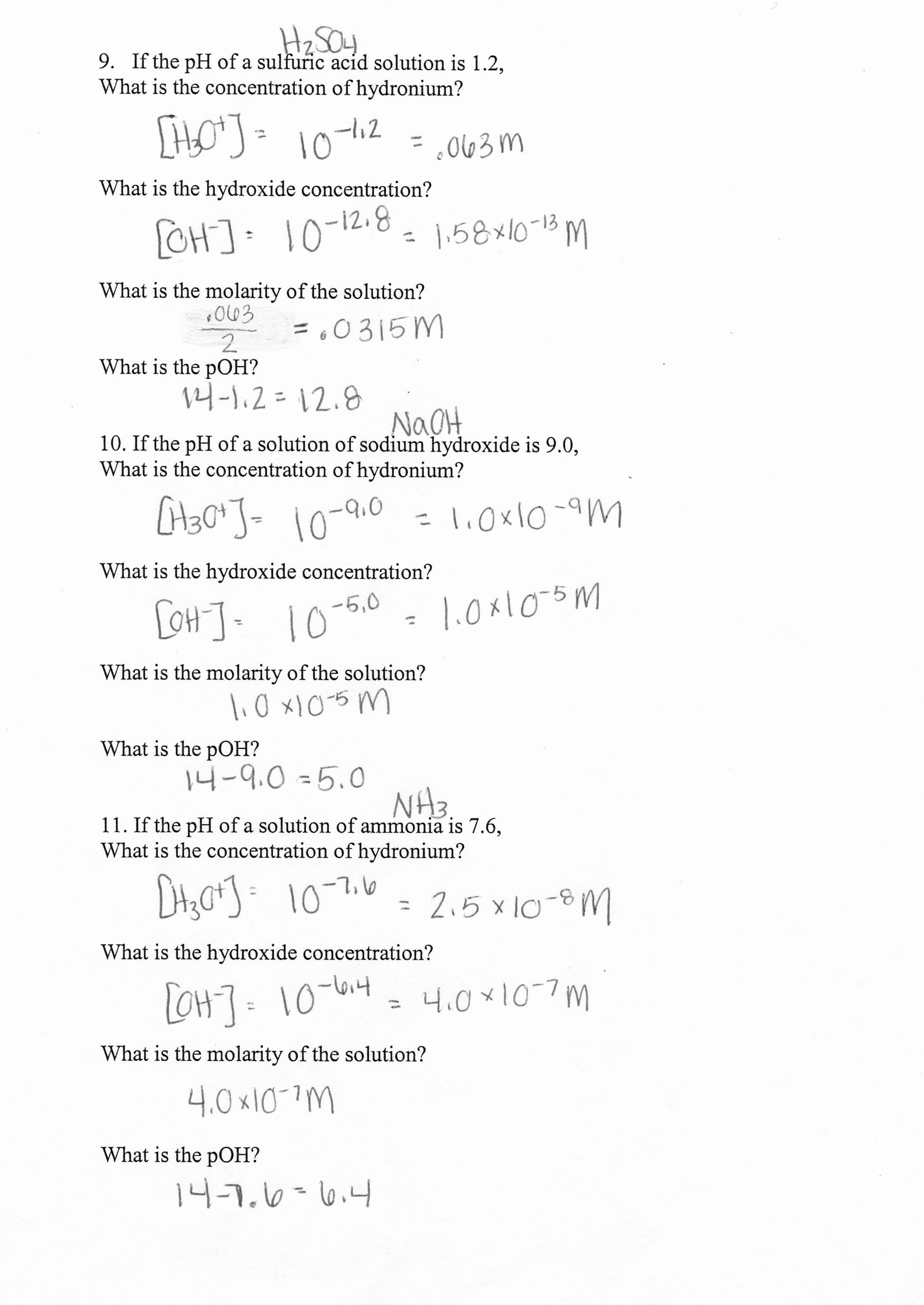 Molarity Worksheet Answer Key Chemistry