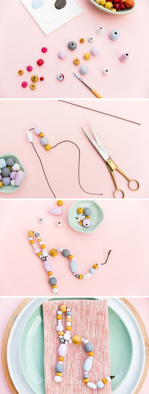 Try this unique place setting DIY with some wire and painted pastel beads.