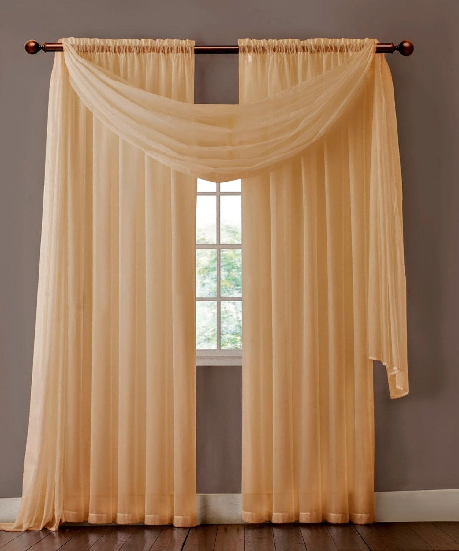 Warm Home Designs Pair Of Taupe Sheer Curtains Or Scarf